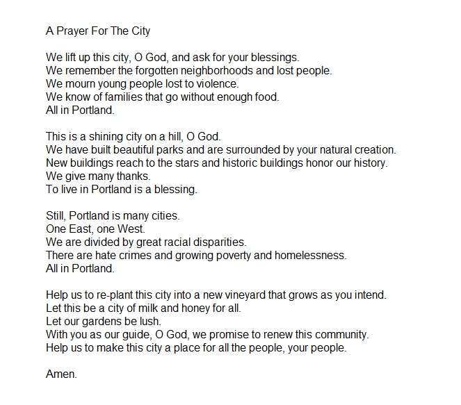 Prayer for the City by Rev. Chuck Currie